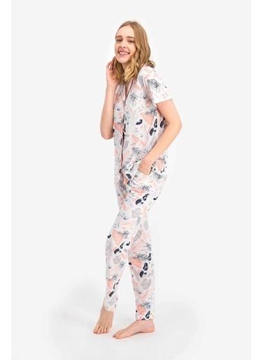 Arnetta Leaf Pattern Krem Kadın Gömlek Pijama Krem
